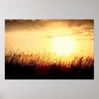草原の日の出 ポスター