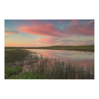 草原の池は華麗な日の出の雲を反映します ウッドウォールアート