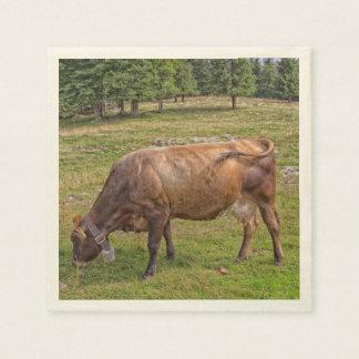 草原の牛食べ物 スタンダードカクテルナプキン