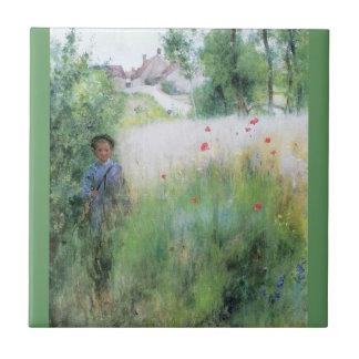草原の男の子 タイル