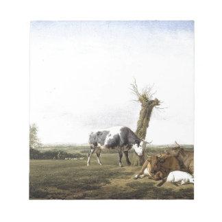 草原Adriaen van de Veldeの牛そしてヤギ ノートパッド