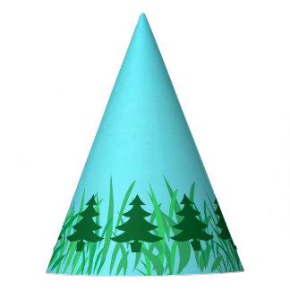 草及び青空の絵の緑の松の木 パーティーハット