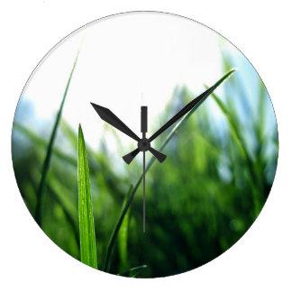 草及び青空 ラージ壁時計