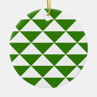 草色および白の三角形 セラミックオーナメント