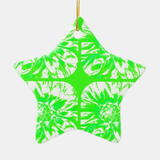 草色のコラージュのダリアの花模様 陶器製星型オーナメント