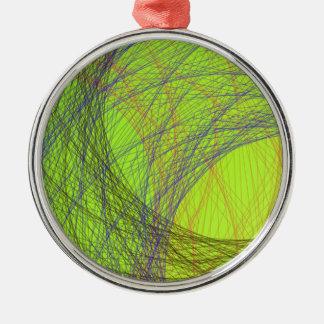 草色の薄い色の抽象美術 メタルオーナメント