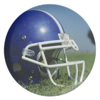 草、クローズアップのアメリカン・フットボールのヘルメット プレート