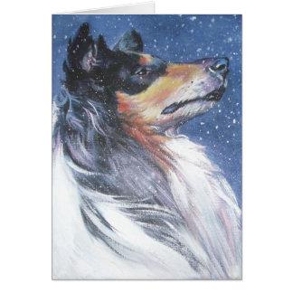荒いコリーのクリスマスカード カード