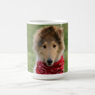 荒いコリーの小犬のかわいく美しい写真 コーヒーマグカップ