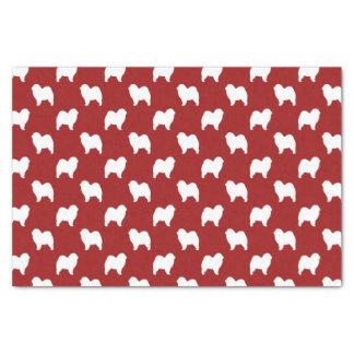 荒いチャウチャウはパターン赤のシルエットを描きます 薄葉紙