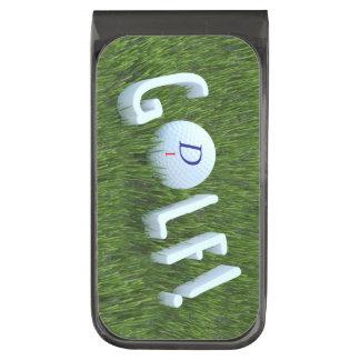 荒いマネークリップのモノグラムのゴルフ・ボール ガンメタル マネークリップ