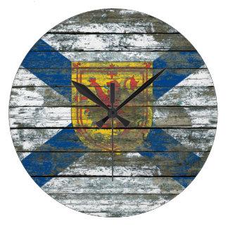 荒い木のノバスコシアの旗は効果に乗ります ラージ壁時計