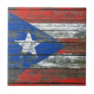 荒い木のプエルトリコの旗は効果に乗ります タイル