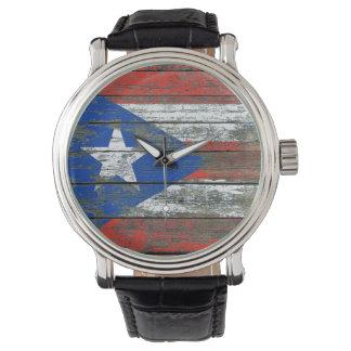 荒い木のプエルトリコの旗は効果に乗ります 腕時計