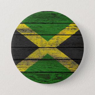 荒い木製の穀物の効果のジャマイカの旗 7.6CM 丸型バッジ