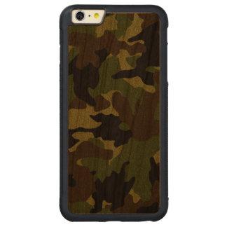 荒い緑の迷彩柄の木製の穀物のiPhoneケースと6 6S CarvedチェリーiPhone 6 Plusバンパーケース