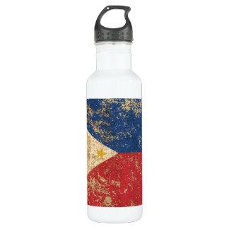 荒い老化させたヴィンテージのフィリピン人の旗 ウォーターボトル