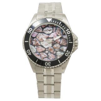 荒く自然な石塀パターン 腕時計