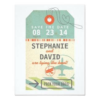 荷物のラベルのヴィンテージの行先の結婚式の保存の日付 カード