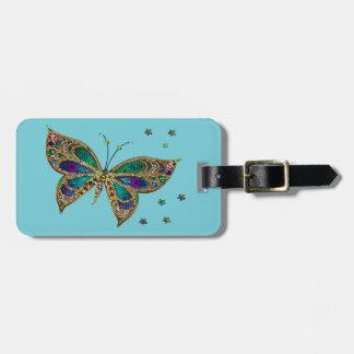 荷物のラベル--モザイク蝶 ラゲッジタグ
