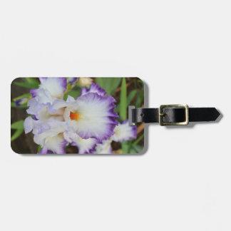 荷物のラベル-紫色の端が付いている白いアイリス ラゲッジタグ