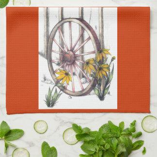荷馬車の車輪Dishtowel キッチンタオル