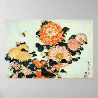 菊と蜂、北斎の菊および蜂、Hokusai ポスター