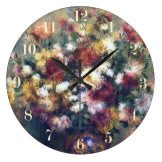 菊によってはルノアールのファインアートが開花します ラージ壁時計