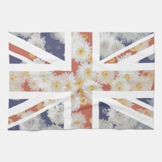 菊の花の英国国旗イギリス(イギリス)の旗 キッチンタオル