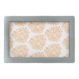菊の花柄パターン 長方形ベルトバックル