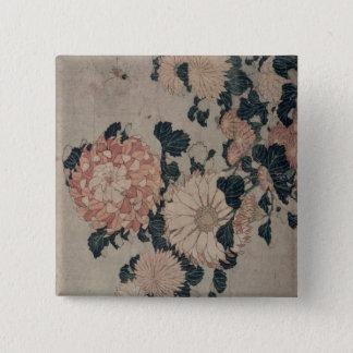 菊(色のwoodblock) 5.1cm 正方形バッジ