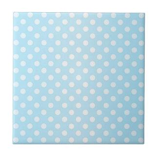 菓子の淡い色のなティール(緑がかった色)の青および白い水玉模様 タイル