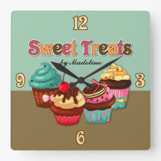 菓子はカップケーキの時計を扱います スクエア壁時計