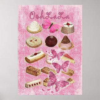 菓子はパリの食料調達のフランスのなペストリーを扱います ポスター