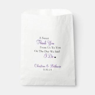 菓子は名前入りな紫色の結婚式感謝していしています フェイバーバッグ