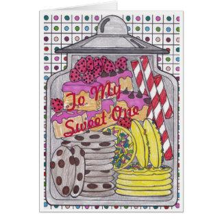 菓子は菓子1のための1つのバースデー・カードを扱います カード
