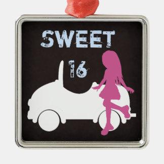 菓子16のシルエット女の子および車の~のピンクおよび青 メタルオーナメント