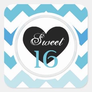 菓子16のステッカー: シェブロンの青および白いプリント スクエアシール