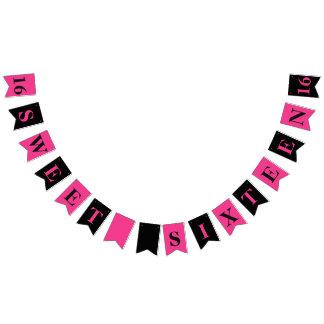 菓子16のピンクおよび黒い誕生日の旗 バンティングフラッグ