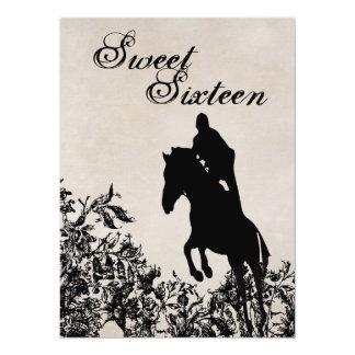 菓子16のヴィンテージの馬の跳躍の誕生日の招待状 カード