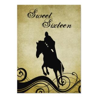 菓子16のヴィンテージの馬の跳躍の誕生日の招待 カード