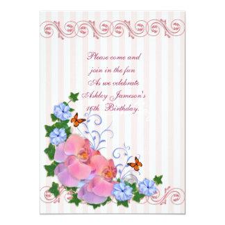 菓子16の招待の蘭は縞で飾り、 カード