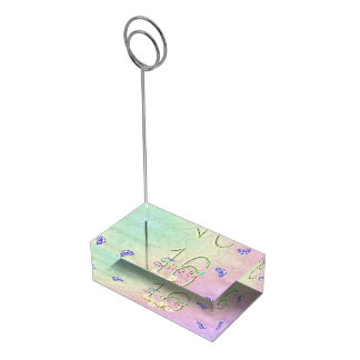 菓子16の虹および蝶誕生会 テーブルカードホルダー