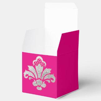 菓子16の誕生会の好意箱の銀のダマスク織 フェイバーボックス