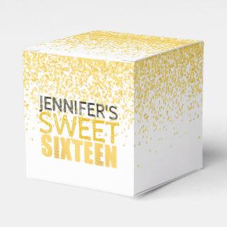 菓子16の誕生会の好意箱のFxの金ゴールドのグリッター フェイバーボックス