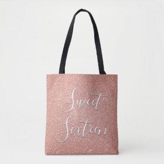 菓子16の誕生日のばら色の金ゴールドの赤面のピンクのグリッター トートバッグ