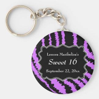 菓子16の黒いおよび紫色のシマウマパターン キーホルダー