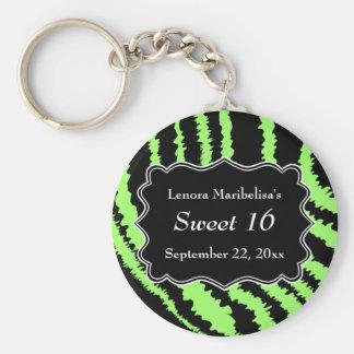 菓子16の黒およびライムグリーンのシマウマパターン キーホルダー