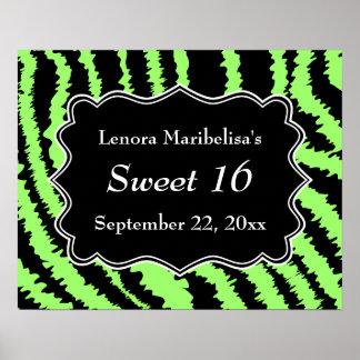 菓子16の黒およびライムグリーンのシマウマパターン ポスター