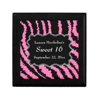 菓子16の黒く、ピンクのシマウマパターン ギフトボックス